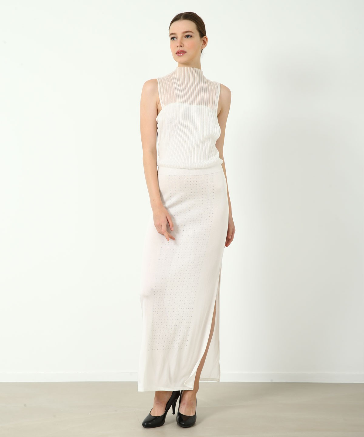 The Pure White Luxe Crystal Dress - Knitted