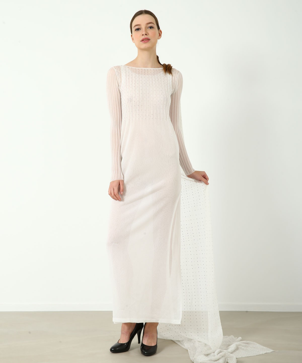 The Pure White LIGHT Luxe Crystal Gown - Knitted